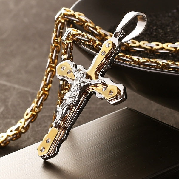 QXYFFS Mens Fashion Trend Vintage Stainless Steel Cross Pendant Necklace 8.26-32 Inches