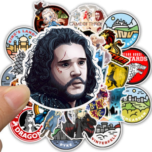 25pcs-50pcs Game of Thrones Cartoon Sticker Doodle Skateboard Laptop Luggage PVC Waterproof Sticker