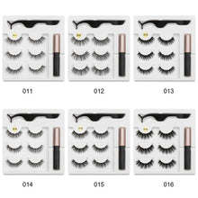 将图片加载到图库查看器,3 Pair Magnetic False Lashes + Five Magnetic Eyeliner With Tweezers For Use With Women Beauty Eye Fashion Handmade Waterproof Eyeliner+3 Pair Eyelashes+Tweezers Makeup Tool Set