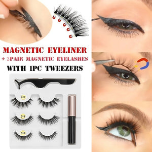 3 Pair Magnetic False Lashes + Five Magnetic Eyeliner With Tweezers For Use With Women Beauty Eye Fashion Handmade Waterproof Eyeliner+3 Pair Eyelashes+Tweezers Makeup Tool Set