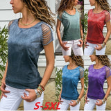 Summer Women's Fashion  Slim Short-sleeved Round Neck Blouse Off-the-shoulder Casual T-shirt Plus Size S-5XL