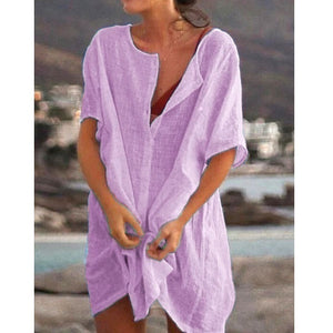 Plus Size Fashion Summer Women's Casual Beach Wear Swimwear Cover-up Linen Dress Loose Short Sleeve Deep V-neck Solid Color Mini Party Dress
