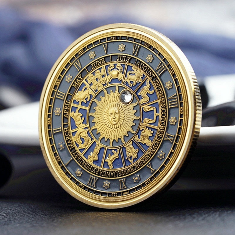 1Pcs Diamonds 12 Constellations Commemorative Coins Tarot Sun God Coins Lucky Coin Gift Collection