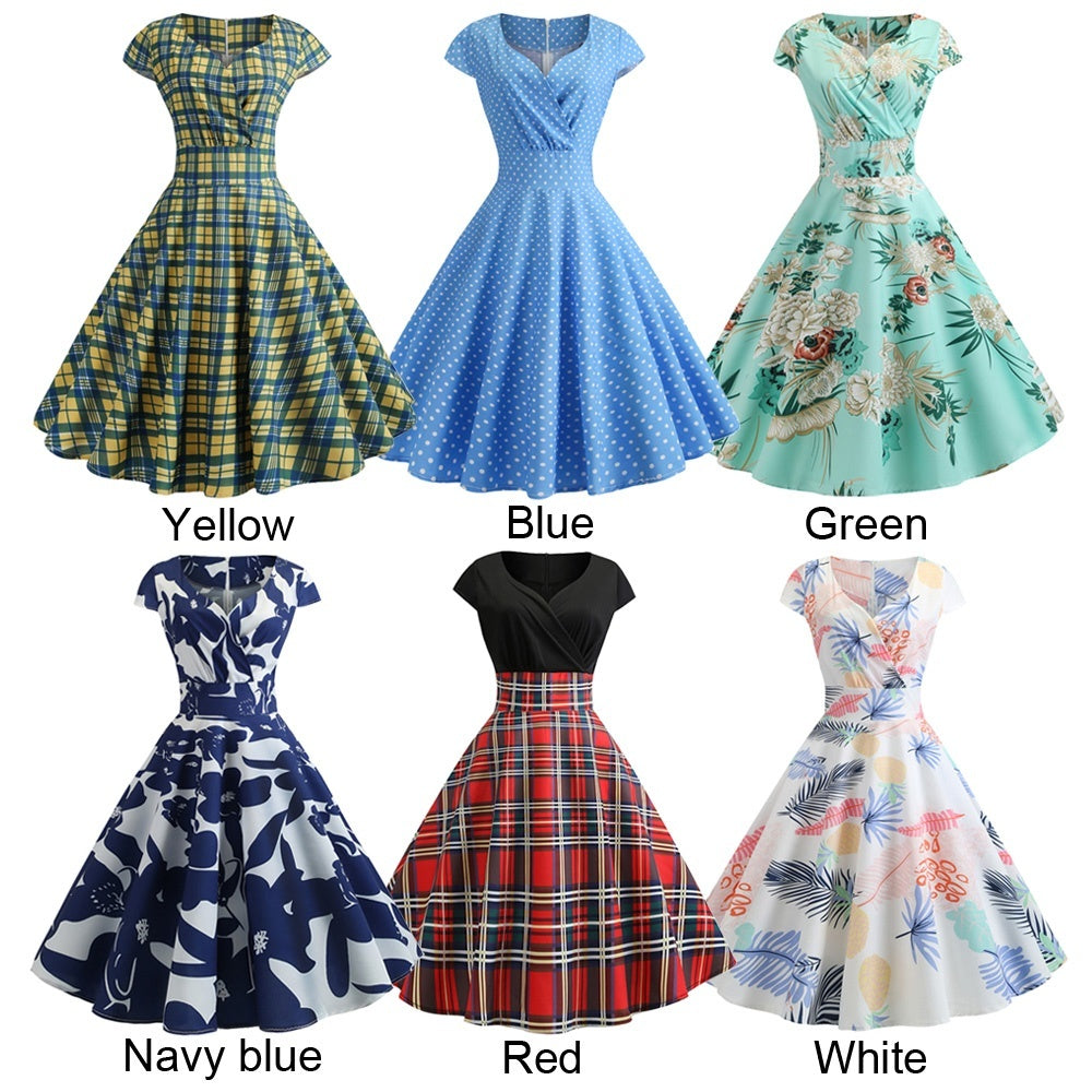 Women V-Neck Vintage Style Pinup Swing Floral Printed Evening Party Rockabilly Retro Dress