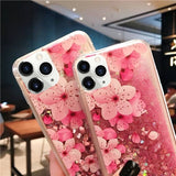 For Samsung Galaxy S10Plus S10e S10 S9 S9Plus S8 S8Plus Note8 Note9 Luxury Quicksand Liquid Clear Soft TPU Silicone Flower Back For iPhone Xs Max Xs Xr X Cover For Huawei P30 P30Pro P30Lite Mate20Lite Mate20Pro Etc