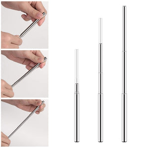 3Pcs/set Eusable Collapsible Drinking Straws Keychain Stainless Steel Telescopic Metal Straw with Brush Portable Storage Box Outdoor