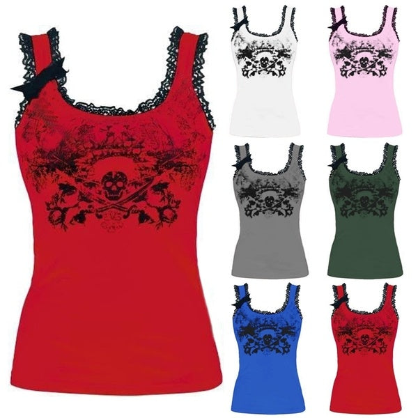 6 Colors Summer New Funny Skull Pattern Print Tank Top Cotton Spaghetti Strap Vest O-Neck Lace Stitching Bow Decoration T-Shirt Women's Fashion Bodycon Pure Colors Crop Tops S-3XL
