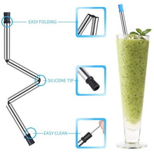 将图片加载到图库查看器,Collapsible Reusable Drinking Straws Stainless Steel Food-Grade Folding Drinking Straws Keychain Portable Set with Case Holder & Cleaning Brush