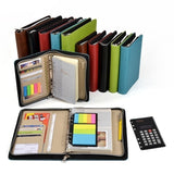 Business Office Notebook Folder Manager with Calculator Ruler Pocket Office Agenda Diary Notepad Zipper Notebook Folder Manager with Calculator Ruler Pocket