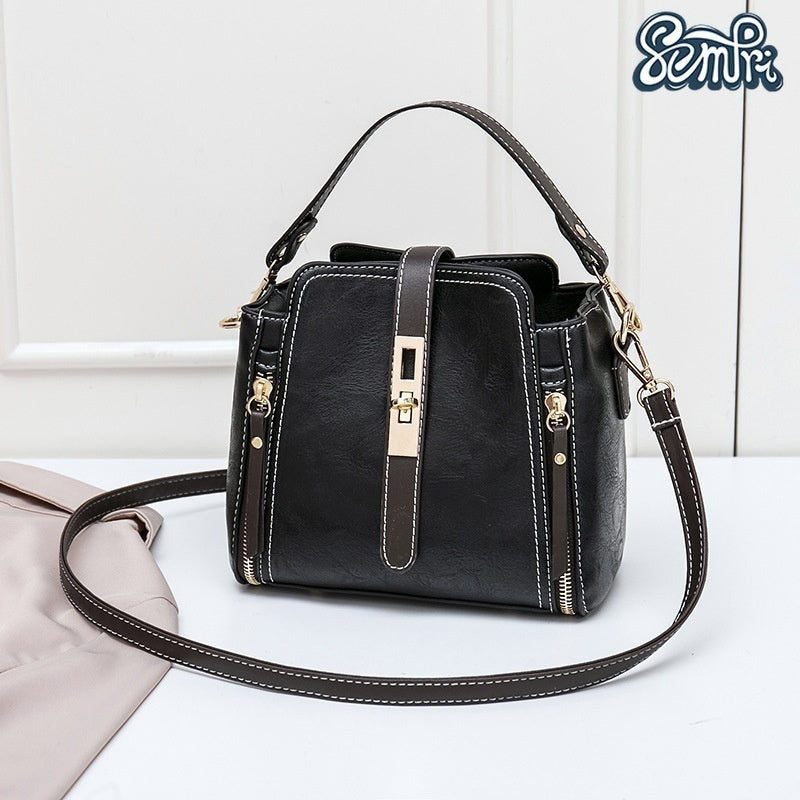 Semfri Women Fashion Large Capacity Bucket Bag Leather Satchel Female Classical Handbags Single Shoulder Bag 2 Size