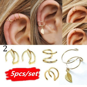 5Pcs/Set Modern Minimalist Leaf Ear Cuff Set No Piercing Criss Cross Fake Cartilage Earring Climber Simple Women Jewelry Accessories