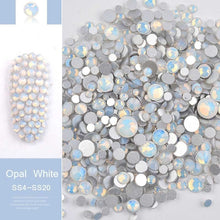 将图片加载到图库查看器,1 Pack Mixed Size (SS4-SS20) Crystal Colorful Opal Nail Art Rhinestone Decorations Glitter Gems 3D Manicure Books Accessory Tools