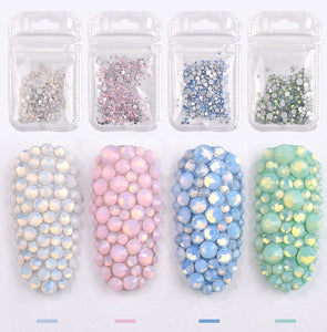 1 Pack Mixed Size (SS4-SS20) Crystal Colorful Opal Nail Art Rhinestone Decorations Glitter Gems 3D Manicure Books Accessory Tools