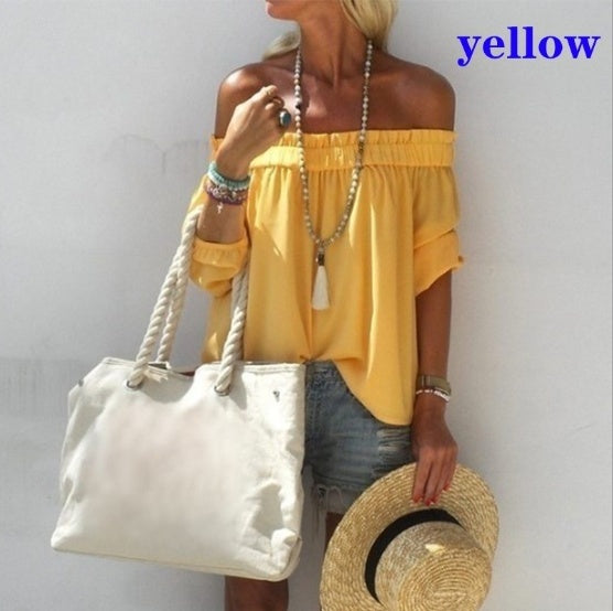 New Women's Summer Fashion Off Shoulder Tops Low Cut Pleated Blouses Solid Color T-shirt