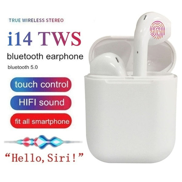i14 TWS Wireless Bluetooth 5.0 Smart Touch Earbuds Super Bass Stereo Sports Headphone With Charging