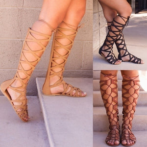 Fashion Gladiator Sandals Woman Flats Summer Shoe Ladies Sexy Casual Knee-high Boots Multi-strap Gladiator Sandals Women Shoes Plus Size 35-43