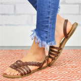Women Fashion Gladiator Leather Flat Sandals Summer Casual Sandals Shoes Plus Size