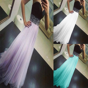 Women's Long Sexy Slim Yarn Strapless Dresses Elegant Waist Controlled Sleeveless Evening Party Dress
