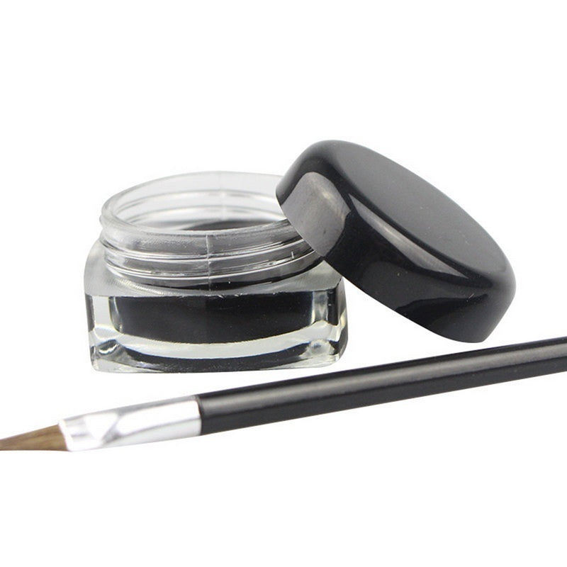 Waterproof Eye Liner Black Liquid Eyeliner Shadow Gel Makeup with Brush