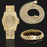 18KRGP Ice Out Crystal Watch Bracelet Necklace Men Women Miami Cz Cuban Chain Hip Hop Jewelry