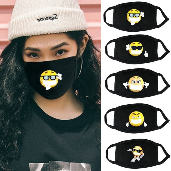 Unisex Reusable Funny Face Mask Cute Expression Printed Men and Women Mouth Mask Black Dust-Proof Windproof Outdoor Half Mask