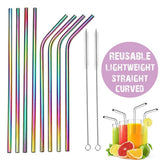 Colorful Stainless Steel Straws Reusable Straight Bent Metal Drinking Straw with Cleaner Brush Set Bar Party Accessory