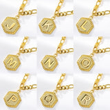 2020 Latest 26 Capital English Alphabet Stainless Steel Anklets 18K Gold-plated Personalized Hexagonal Alphabet Anklet Bracelet Summer Fashion Friendship Gift