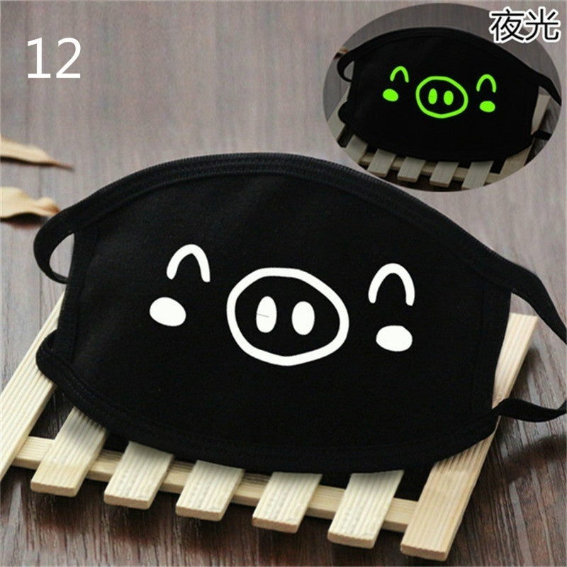 1psc Fashion Black Cartoon Face Mask Funny Teeth Punk Luminous Ghost Skull Anti- Dust Winter Cubre Bocas Hombre Cotton Mouth Mask