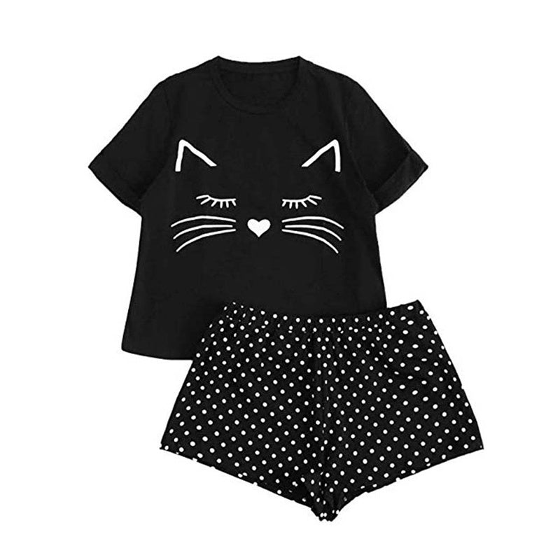 Summer Fashion Shirt Short Pants Sets Casual Pajamas Home Wear Suit Sleep Wear for Women