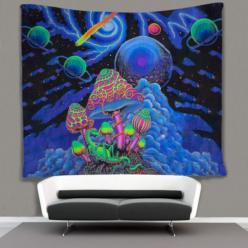 Psychedelic Tapestry Trippy Tapestry Mushroom Tapestry Nebula Galaxy Meteor Planets Tapestry Lightning Starry Sky Wall Hanging Hippie Art 50x60 Inches Dorm Room Bedroom Decor Van Gogh Blue