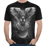 Gothic Style Funny Animal Owl Cat Dragon T-shirts Men/Women Short Sleeve Hip Pop Streetwear Casual Shirts Apparel