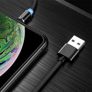 Cell Phone 3 In 1 Magnetic Braided Charging Micro Magnetic Usb Cable High Quality 3 in1 Fast Charger Cable Line