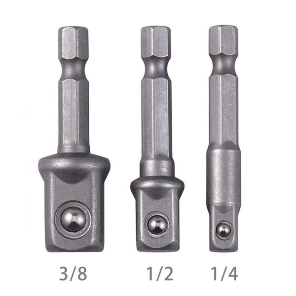 3 Socket Adapter Hex Shank Drill Bit Set Adaptateur De Douille Set Tige Hexagonale Vers 1/4 3/8 1/2 Embout Foret