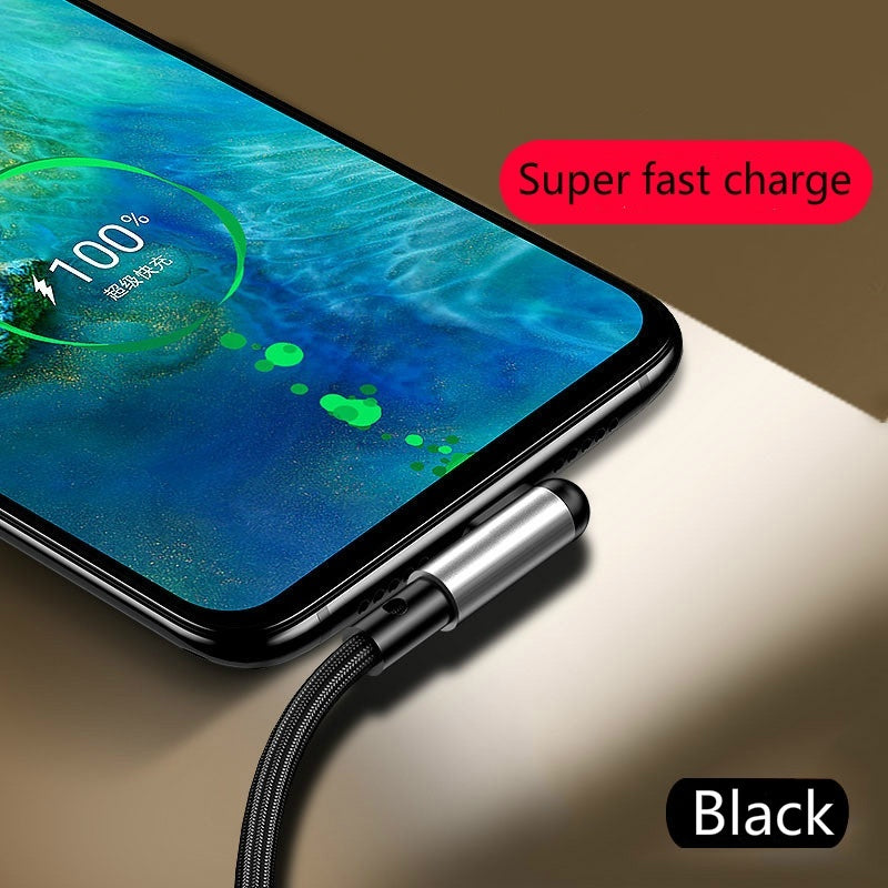 Fast Charger Usb Cable For iPhone  90 Degree Charging Cable For Apple iPad 8 Pin Lightning Cable For iPhone 5 5s 6 6s 7 8 PLus Fast Charging Cable For iPhone X Xs Xs Max