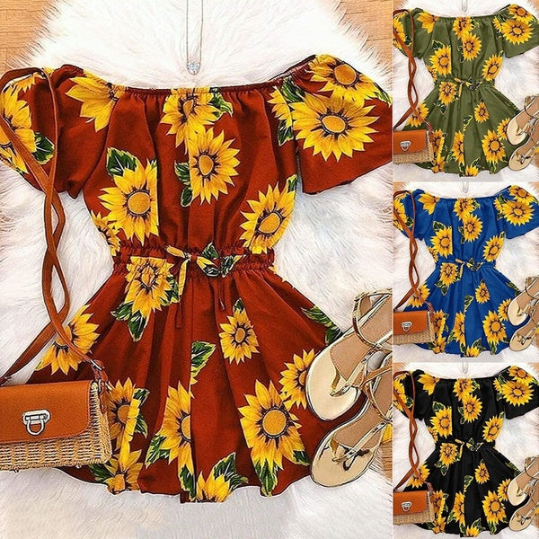 Women's Off Shoulder Rompers Sleeveless Sunflower Printed Short Jumpsuits 4 Color Plus Size