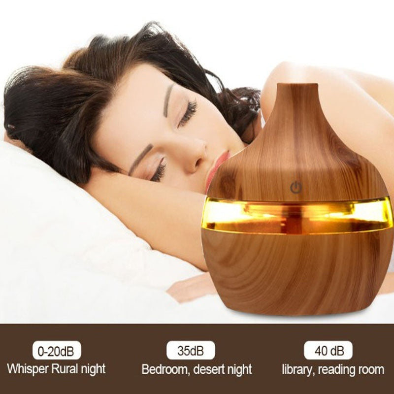 300ml 7 Color LED  Wood Humidifier Oil Diffuser Moisture Aroma Humidifier Air Freshener