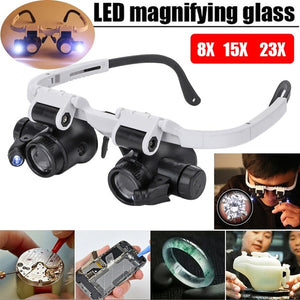 8x 15x 23x Double Eye Loupe Head Wearing Led Magnifier Jewelry Repair Watch Repair Jewelryloupe Head-Mounted Repair Jeweler Watch Clock Magnifier Illuminated Magnifying Glass with LED Light for Jewellery/Mobile Phone/Watch/Clock Repair