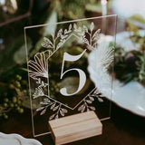 High-quality Unique Acrylic Calligraphy Table Number with Wooden Frame Set Wedding Event Shower Number Sign Modern Wedding Table Number