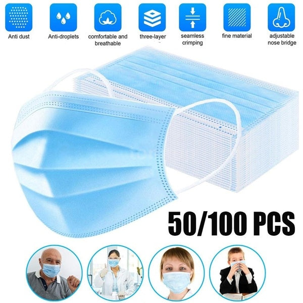 50pcs/100pcs Face Mouth Mask Hermetically Packed Disposable Protect 3 Layers Filter Dustproof Earloop Non-Woven Mouth Masks