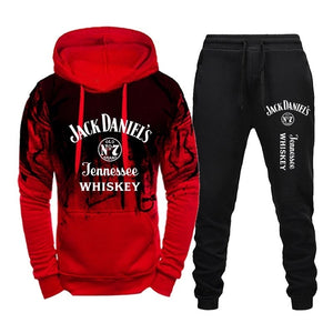 Jack Daniel's Printed Tracksuits For Men Fashion Casual Hoodie + Pant 2 Piece Set Spring Autumn Jogging Suits