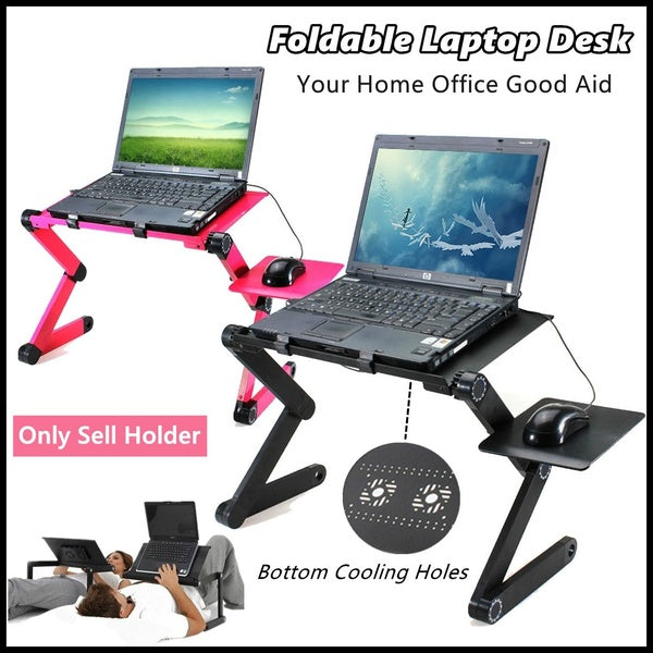 Portable 360¡ã Foldable Laptop Desk Table Home Use Adjustable Multifunction Foldable Desk Laptop Desk Magnesium Alloy ABS With Dual Fans Collapsible No Installation Required One Second Lock Place Your Laptop