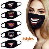 Fashion Cartoon Pattern Solid Black Cotton Face Mask Cool 3D Print Half Face Mouth Muffle Masks(5 styles)