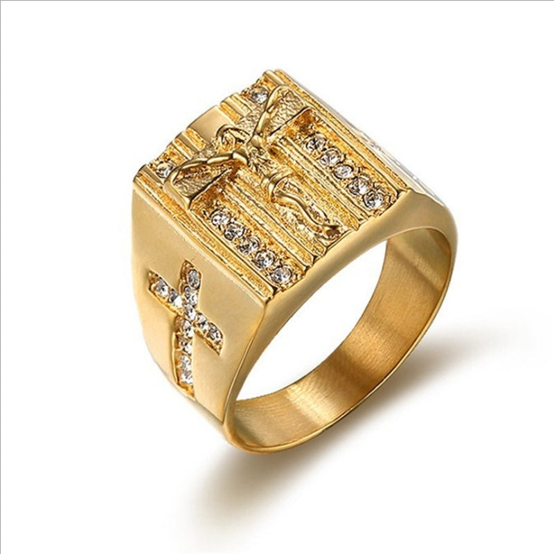 Gemstone Ring men's hip hop jewelry plated with 18K Gold Diamond Ring men's ring