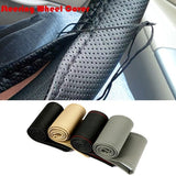 Diameter 38cm DIY Steering Wheels Cover with Needles and Thread for Car(rtgrt)