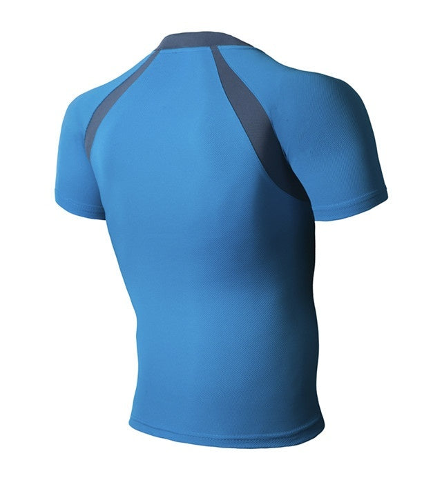 Summer Men Fitness Training Clothes Tight-Fitting Polyester Short-Sleeve Sportswear Yoga Stretch Run Fast Drying T-shirt