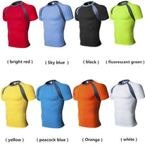 将图片加载到图库查看器,Summer Men Fitness Training Clothes Tight-Fitting Polyester Short-Sleeve Sportswear Yoga Stretch Run Fast Drying T-shirt