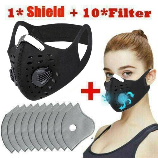 Anti Smoke Fog Pollution Air Purifying Half Face Mouth Shield &10 Filters