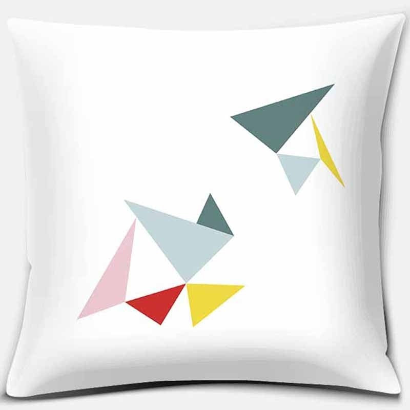 Color simple geometric print square pillowcase modern home decoration car sofa cushion cover (45cm * 45cm)