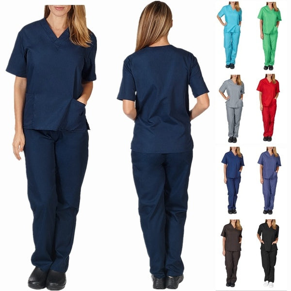 Men & Women Unisex Short Sleeve V-neck Tops+Pants Medical Nursing Uniform Set Suit Hospital Scrub Set
