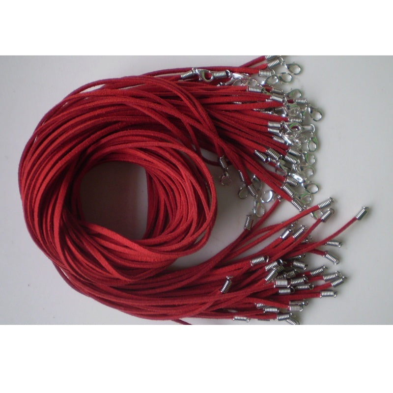 Hot New 20inches Wholesale 20 PCS Suede Leather String Necklace Cords With Clasp multiple 7 color choice 20' QTY:10 Pcs